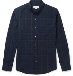 Solid Homme Slim-Fit Checked Cotton-Blend Shirt