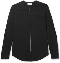 Solid Homme Slim-Fit Collarless Crepe Shirt