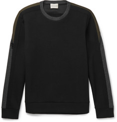 Solid Homme Zip-Detailed Panelled Neoprene Sweatshirt