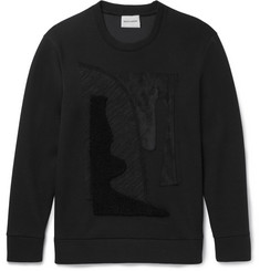 Solid Homme - Jersey, Shearling And Suede-Appliquéd Scuba-Jersey Sweatshirt