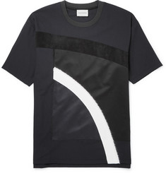 Solid Homme Suede-Trimmed Appliquéd Wool-Blend Jersey T-Shirt
