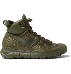 Nike Lupinek Leather-Trimmed Flyknit High-Top Sneakers