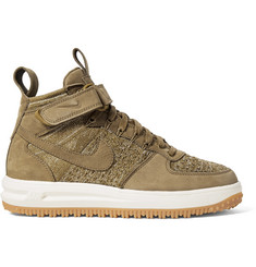 Nike Lunar Force 1 Workboot Suede and Flyknit High-Top Sneakers