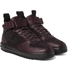 Nike - Lunar Force 1 Workboot Leather and Flyknit High-Top Sneakers
