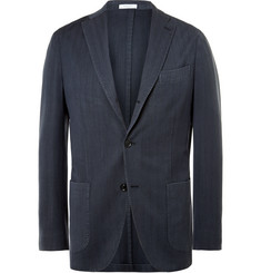 Boglioli Navy Slim-Fit Herringbone Wool Blazer