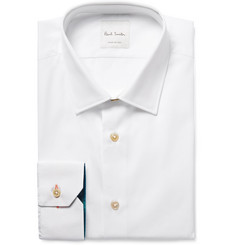 Paul Smith - White Slim-Fit Contrast-Cuff Cotton-Poplin Shirt