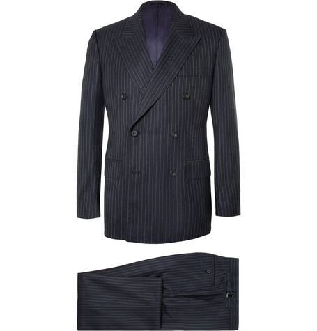 Harry's Navy Pinstriped Super 120s Wool Suit by Kingsman