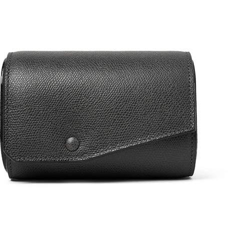 Valextra Pebble-Grain Leather Watch Roll In Anthracite