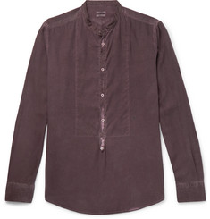 Massimo Alba Grandad-Collar Garment-Washed Modal and Cotton-Blend Shirt