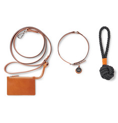 Shinola - Grosgrain-Trimmed Leather Dog Leash, Collar and Toy Set