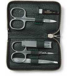 D R Harris Grained Leather-Bound Manicure Set