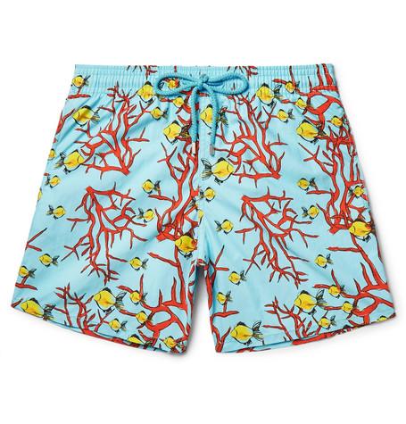 Vilebrequin Moorea Mid-length Printed Swim Shorts In Blue