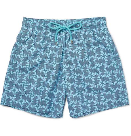 Vilebrequin Moorea Slim-fit Short-length Printed Swim Shorts In Blue