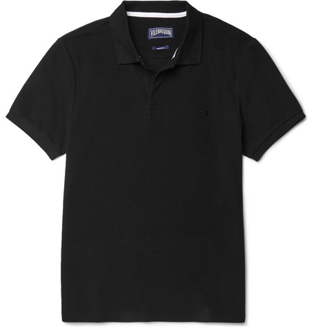 Vilebrequin Slim-fit Cotton-piquÉ Polo Shirt In Black