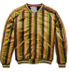 KAPITAL Reversible Striped Cotton-Blend and Velvet Souvenir Jacket