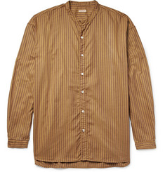 KAPITAL Grandad-Collar Striped Cotton Oxford Shirt