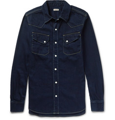 KAPITAL Indigo-Dyed Denim Western Shirt