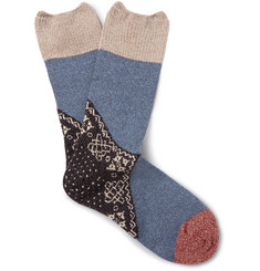 KAPITAL Patterned Ribbed-Knit Socks