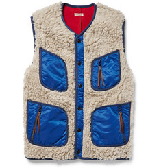 KAPITAL Shell-Trimmed Faux Shearling Gilet