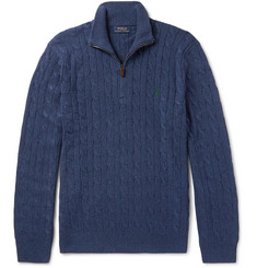 Polo Ralph Lauren Cable-Knit Silk Half-Zip Sweater