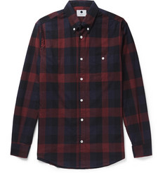 NN07 New Derek Button-Down Collar Checked Cotton-Flannel Shirt