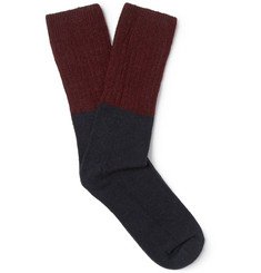 NN07 - Colour-Block Wool-Blend Socks