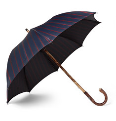 Francesco Maglia - Lord Chestnut Wood-Handle Striped Twill Umbrella