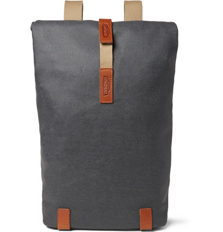 Brooks England - Pickwick Small Leather-Trimmed Cotton-Canvas Backpack - Gray