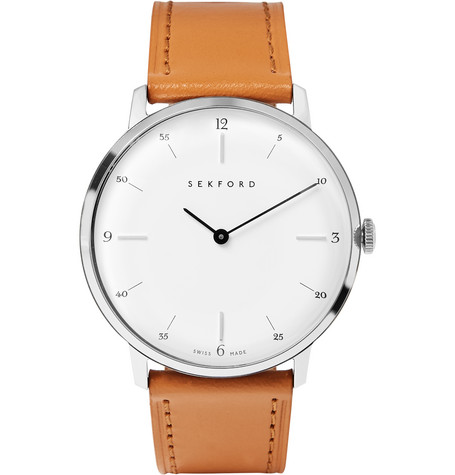 SEKFORD Type 1A Stainless Steel And Leather Watch - White - One Siz