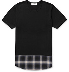 Aloye Panelled Checked Cotton-Jersey T-Shirt