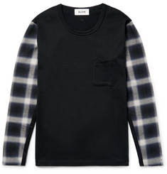 Aloye - Panelled Checked Flannel and Cotton-Jersey T-Shirt