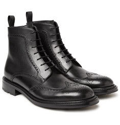 O'Keeffe - Felix Water-Resistant Polished-Leather Wingtip Brogue Boots
