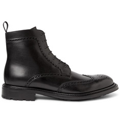 O'Keeffe Felix Water-Resistant Polished-Leather Wingtip Brogue Boots