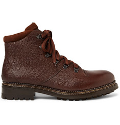 O'Keeffe Austin Shearling-Lined Weatherproof Pebble-Grain Leather Boots