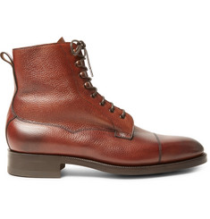 Edward Green Galway Cap-Toe Pebble-Grain Leather Boots