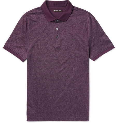 michael kors male michael kors slimfit cottonjacquard polo shirt burgundy