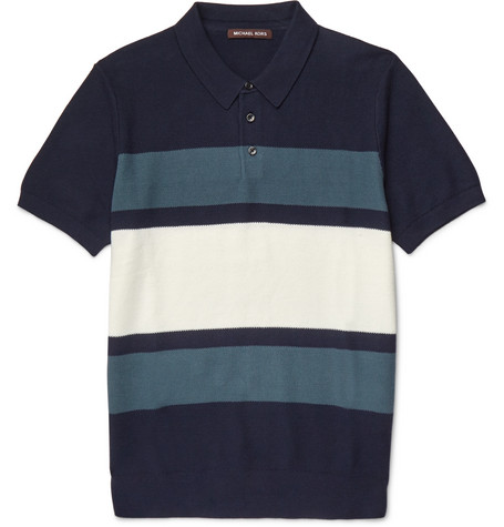 michael kors male michael kors slimfit striped knitted cotton polo shirt blue