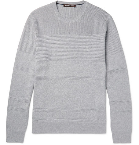 michael kors male michael kors honeycomb knitpanelled cottonblend sweater gray