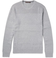 Michael Kors Honeycomb Knit-Panelled Cotton-Blend Sweater