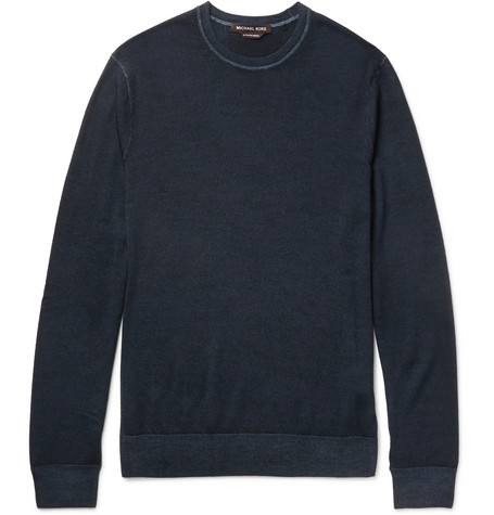 michael kors male michael kors slimfit washed merino wool sweater navy