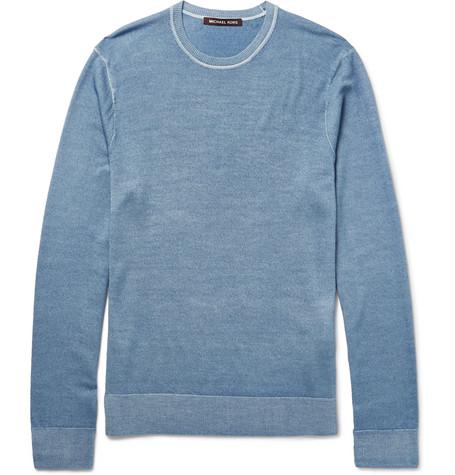 michael kors male michael kors slimfit washed merino wool sweater blue
