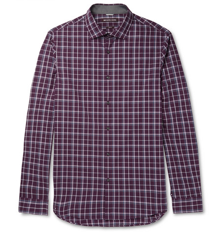 michael kors male michael kors slimfit checked cottonpoplin shirt burgundy