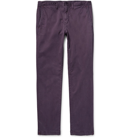 michael kors male michael kors slimfit garmentdyed stretchcotton twill chinos grape