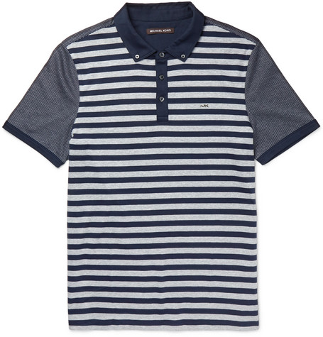 michael kors male michael kors slimfit striped cottonjersey polo shirt navy
