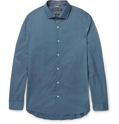 michael kors male michael kors slimfit polkadot cottonpoplin shirt petrol