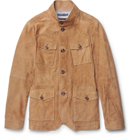michael kors male michael kors slimfit nappa suede field jacket brown