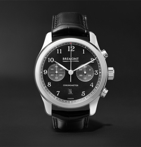 BREMONT Alt1-Classic/Pb Automatic Chronograph 43Mm Stainless Steel And Alligator Watch in Black