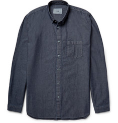 Folk Button-Down Collar Cotton-Chambray Shirt