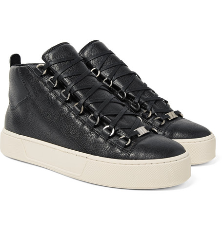 Arena Full-grain Leather High-top Sneakers - Black