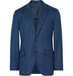 Hackett Blue London Slim-Fit Herringbone Wool Blazer